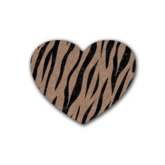 Skin3 Black Marble & Brown Colored Pencil (r) Rubber Heart Coaster (4 Pack) by trendistuff