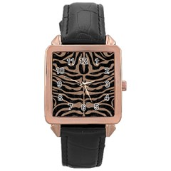 Skin2 Black Marble & Brown Colored Pencil Rose Gold Leather Watch  by trendistuff