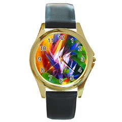 Palms02 Round Gold Metal Watch by psweetsdesign
