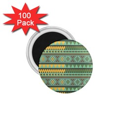 Bezold Effect Traditional Medium Dimensional Symmetrical Different Similar Shapes Triangle Green Yel 1 75  Magnets (100 Pack)  by Mariart