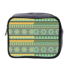 Bezold Effect Traditional Medium Dimensional Symmetrical Different Similar Shapes Triangle Green Yel Mini Toiletries Bag 2 Side by Mariart