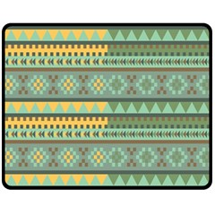 Bezold Effect Traditional Medium Dimensional Symmetrical Different Similar Shapes Triangle Green Yel Fleece Blanket (medium)  by Mariart