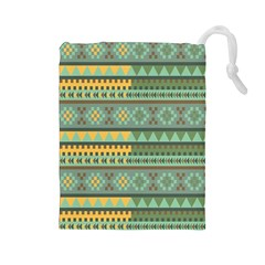 Bezold Effect Traditional Medium Dimensional Symmetrical Different Similar Shapes Triangle Green Yel Drawstring Pouches (large)  by Mariart