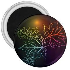 Beautiful Maple Leaf Neon Lights Leaves Marijuana 3  Magnets by Mariart