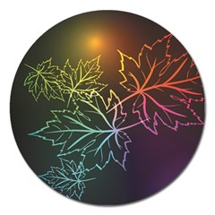 Beautiful Maple Leaf Neon Lights Leaves Marijuana Magnet 5  (round) by Mariart