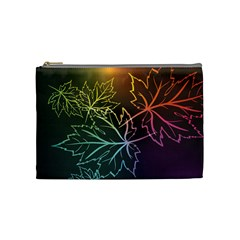 Beautiful Maple Leaf Neon Lights Leaves Marijuana Cosmetic Bag (medium)  by Mariart