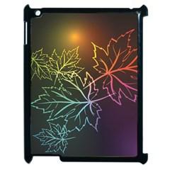 Beautiful Maple Leaf Neon Lights Leaves Marijuana Apple Ipad 2 Case (black) by Mariart