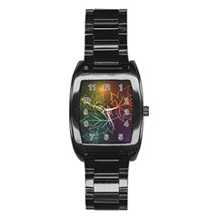 Beautiful Maple Leaf Neon Lights Leaves Marijuana Stainless Steel Barrel Watch by Mariart