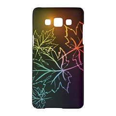 Beautiful Maple Leaf Neon Lights Leaves Marijuana Samsung Galaxy A5 Hardshell Case  by Mariart