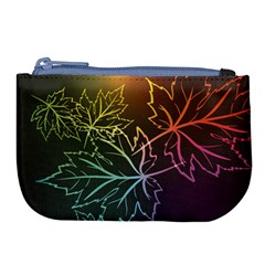 Beautiful Maple Leaf Neon Lights Leaves Marijuana Large Coin Purse by Mariart