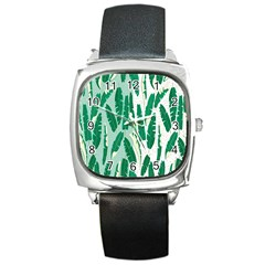 Banana Leaf Green Polka Dots Square Metal Watch by Mariart