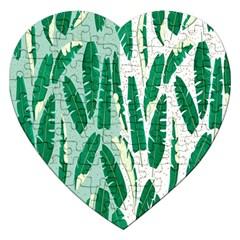 Banana Leaf Green Polka Dots Jigsaw Puzzle (heart) by Mariart