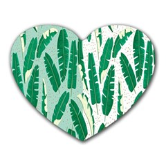 Banana Leaf Green Polka Dots Heart Mousepads by Mariart