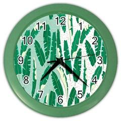 Banana Leaf Green Polka Dots Color Wall Clocks by Mariart