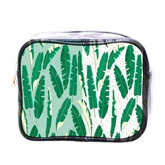 Banana Leaf Green Polka Dots Mini Toiletries Bags by Mariart