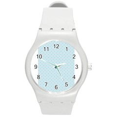 Blue Red Circle Polka Round Plastic Sport Watch (m) by Mariart