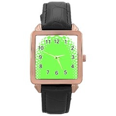 Bubble Polka Circle Green Rose Gold Leather Watch  by Mariart
