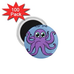 Colorful Cartoon Octopuses Pattern Fear Animals Sea Purple 1 75  Magnets (100 Pack)  by Mariart