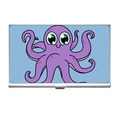 Colorful Cartoon Octopuses Pattern Fear Animals Sea Purple Business Card Holders by Mariart