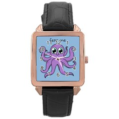 Colorful Cartoon Octopuses Pattern Fear Animals Sea Purple Rose Gold Leather Watch  by Mariart