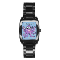 Colorful Cartoon Octopuses Pattern Fear Animals Sea Purple Stainless Steel Barrel Watch by Mariart