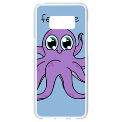 Colorful Cartoon Octopuses Pattern Fear Animals Sea Purple Samsung Galaxy S8 White Seamless Case by Mariart