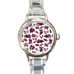 Crown Red Flower Floral Calm Rose Sunflower White Round Italian Charm Watch by Mariart