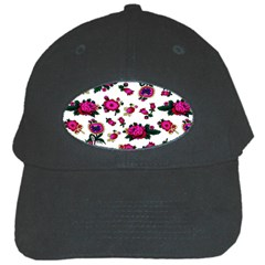 Crown Red Flower Floral Calm Rose Sunflower White Black Cap by Mariart
