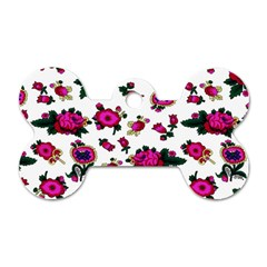 Crown Red Flower Floral Calm Rose Sunflower White Dog Tag Bone (two Sides) by Mariart