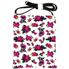 Crown Red Flower Floral Calm Rose Sunflower White Shoulder Sling Bags by Mariart
