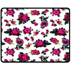 Crown Red Flower Floral Calm Rose Sunflower White Fleece Blanket (medium)  by Mariart