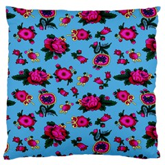 Crown Red Flower Floral Calm Rose Sunflower Large Flano Cushion Case (two Sides) by Mariart