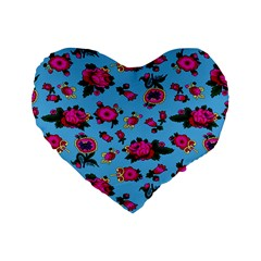 Crown Red Flower Floral Calm Rose Sunflower Standard 16  Premium Flano Heart Shape Cushions by Mariart
