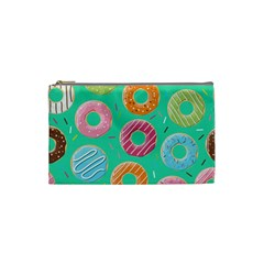 Doughnut Bread Donuts Green Cosmetic Bag (small)  by Mariart