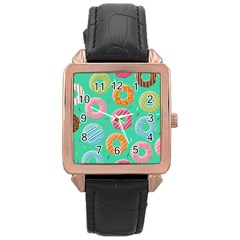 Doughnut Bread Donuts Green Rose Gold Leather Watch  by Mariart