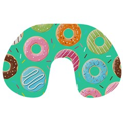 Doughnut Bread Donuts Green Travel Neck Pillows by Mariart