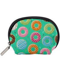 Doughnut Bread Donuts Green Accessory Pouches (small)  by Mariart