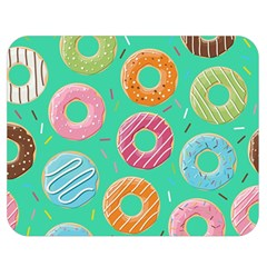Doughnut Bread Donuts Green Double Sided Flano Blanket (medium)  by Mariart