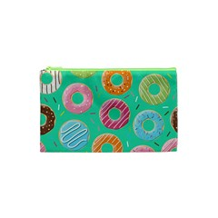 Doughnut Bread Donuts Green Cosmetic Bag (xs) by Mariart