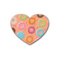 Doughnut Bread Donuts Orange Rubber Coaster (heart)  by Mariart