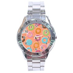 Doughnut Bread Donuts Orange Stainless Steel Analogue Watch by Mariart
