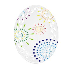 Fireworks Illustrations Fire Partty Polka Oval Filigree Ornament (two Sides) by Mariart