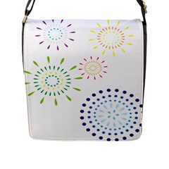 Fireworks Illustrations Fire Partty Polka Flap Messenger Bag (l)  by Mariart