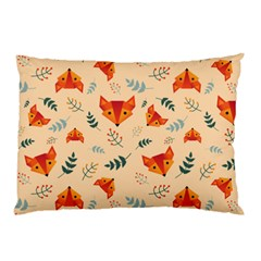 Foxes Animals Face Orange Pillow Case (two Sides) by Mariart