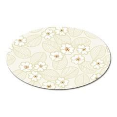 Flower Floral Leaf Oval Magnet by Mariart
