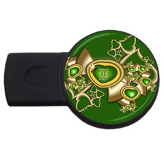 Green And Gold Hearts With Behrman B And Bee Usb Flash Drive Round (4 Gb) by WolfepawFractals