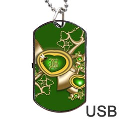 Green And Gold Hearts With Behrman B And Bee Dog Tag Usb Flash (two Sides) by WolfepawFractals