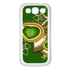 Green And Gold Hearts With Behrman B And Bee Samsung Galaxy S3 Back Case (white) by WolfepawFractals