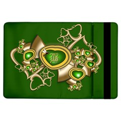 Green And Gold Hearts With Behrman B And Bee Apple Ipad Air Flip Case by WolfepawFractals