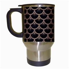 Scales3 Black Marble & Brown Colored Pencil Travel Mug (white) by trendistuff